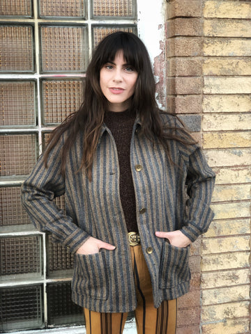 Wool Jacket Brown & Grey Stripe