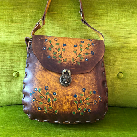 Large 1970s Brown Leather Purse