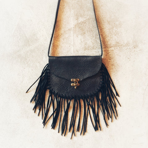 Sadie Fringes Black Leather Purse