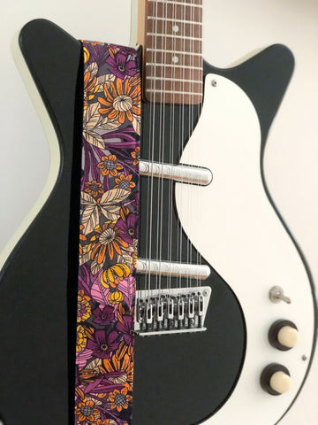 70's Orange/Purple Floral Guitar Strap