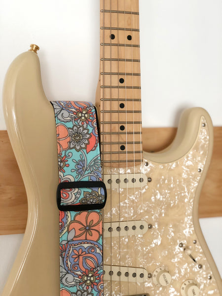 Teal Floral Faded Guitar Strap