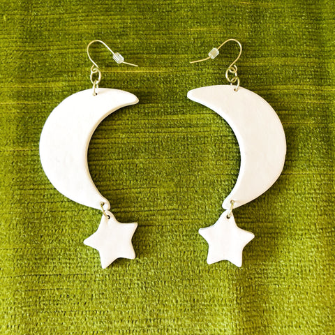 White Clay Moon & Star Earrings
