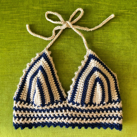 Crochet Navy & Natural Halter Top