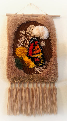 Butterfly Fiber Art Wall Hanging