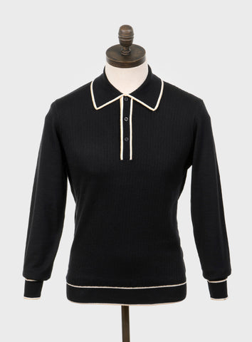 Isley Knitted Polo Shirt Black