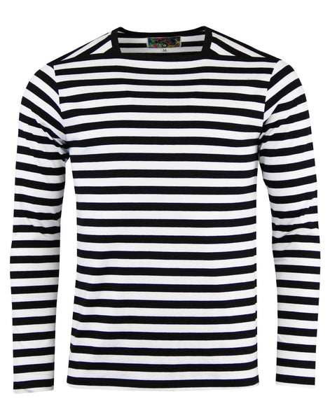 King Bee Woven L/S B&W Stripe