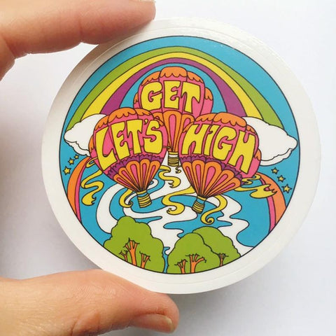 Let's Get High Sticker 3""