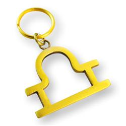 Brass Zodiac Key Ring Libra