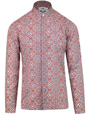Lotus Floral Grandad Collar Viscose Shirt