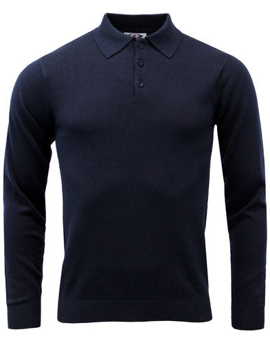 Brando Knitted L/S Polo Navy