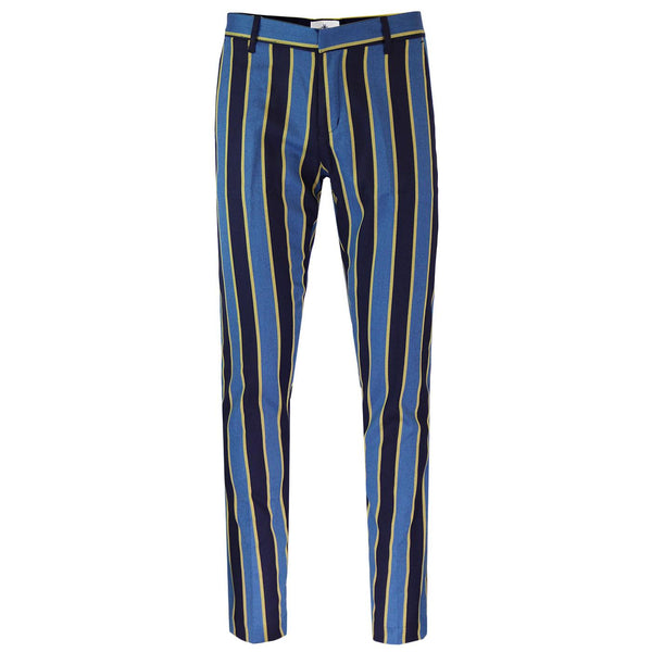 Offbeat Mod Slim Trousers Blue & Yellow