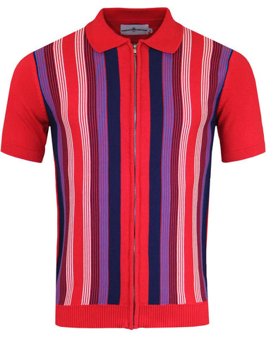 Capitol Red Stripe Zip Polo