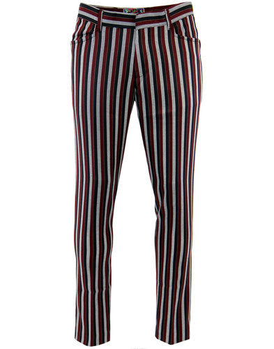 Meadon Stripe Slim Trousers Red/Navy/Grey