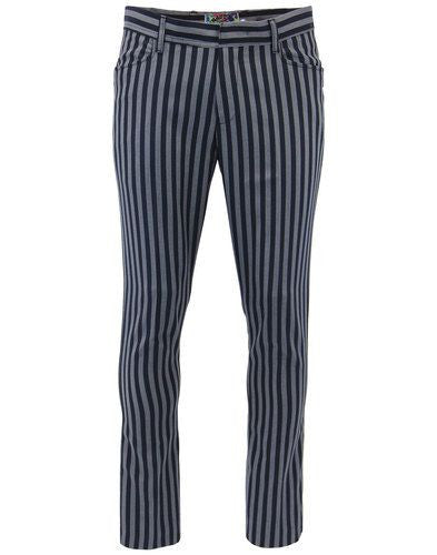 Meadon Stripe Slim Trousers Black/Silver