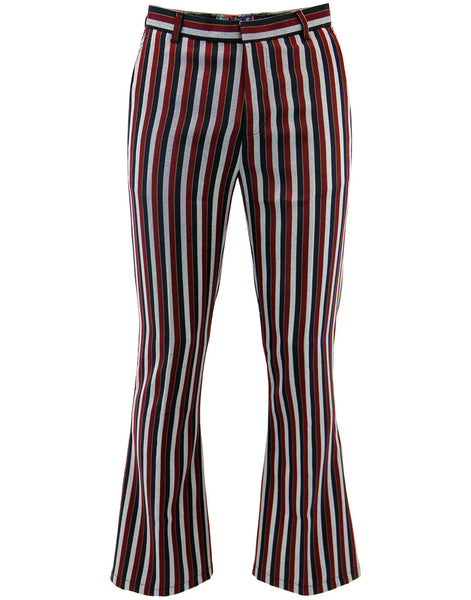 Midnight Lamp Flares Trousers Red/Silver/Navy