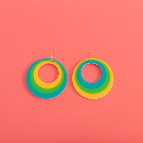 Mega Modtastic Hoop Earrings in Blue, Green & Yellow