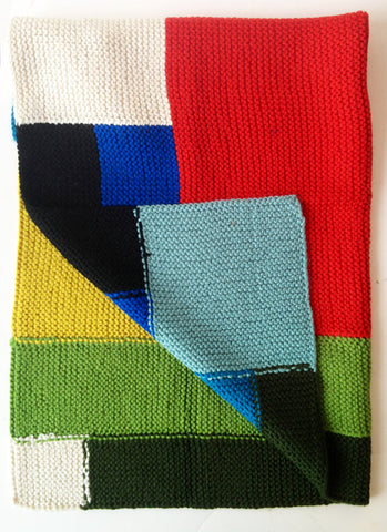 Bright Mondrian Block Blanket