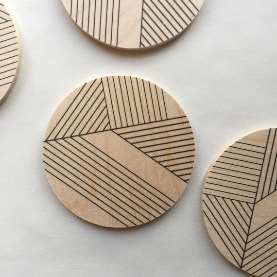 Monochrome Geometric Wood Coasters