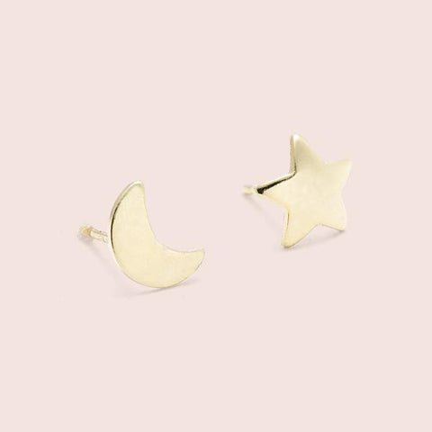 Moon and Stars Studs Earrings