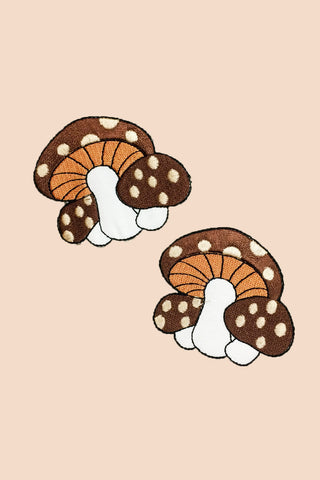 Mushroom Family Patch Brown