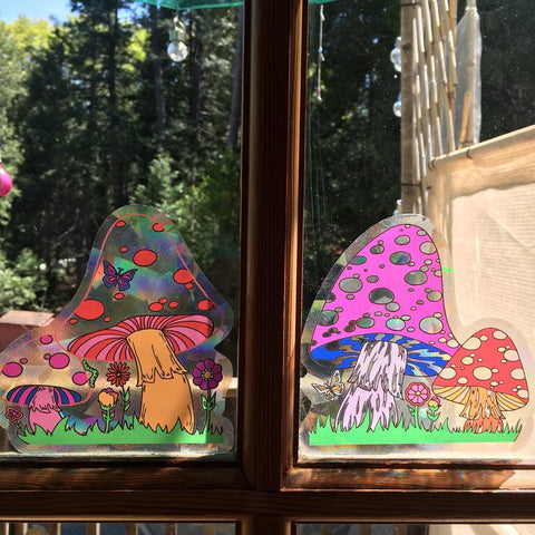 Mushroom Sun Catcher Decal for Windows Small