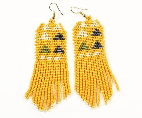 Mustard Ivory Grey Avocado Seed Bead Stripe Triangle Earrings 4""