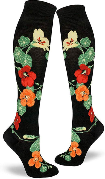 Nasturtiums Knee High Socks Black
