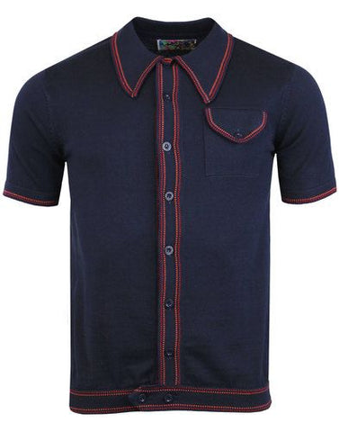 Crawdaddy Polo Cardigan Navy