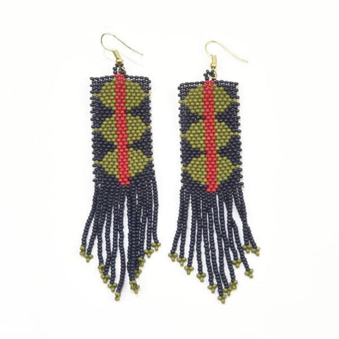 Navy and Green Triangle with Red Stripe Seed Bead Earrings 4""