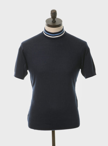 Nolan Navy Blue Shirt with Sky Blue & White Tipping