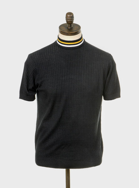 Nolan Black Shirt with Mustard & White Tipping
