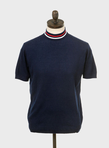 Nolan Navy Blue Shirt with Red & White Tipping