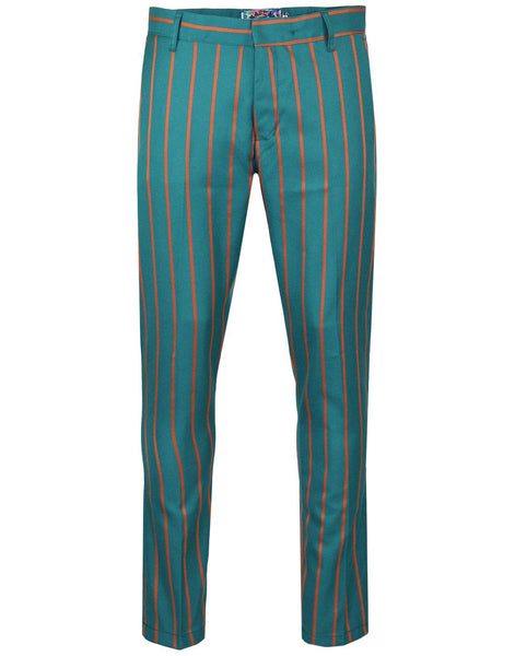 Offbeat Teal and Orange Stripe Trousers