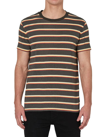 Old Mate Tee Charcoal Stripe
