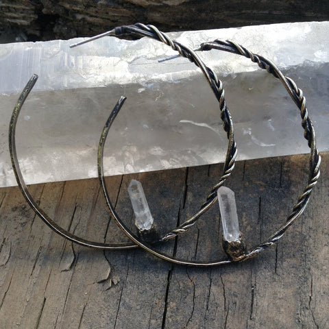 Orbital Return Hoop Earrings Silver