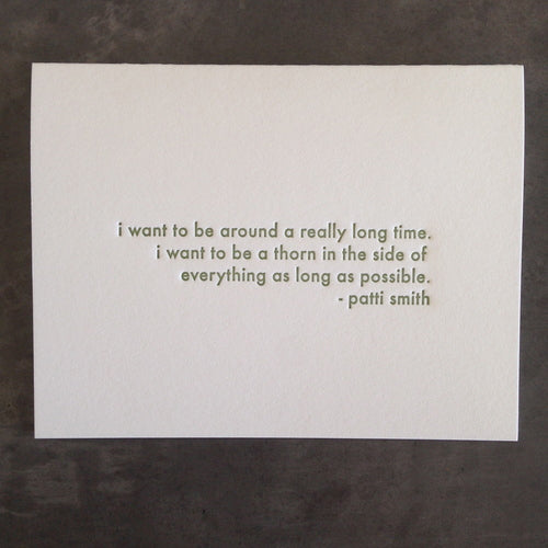 "Patti Smith ""I Want to Be Around"" Quote Card"