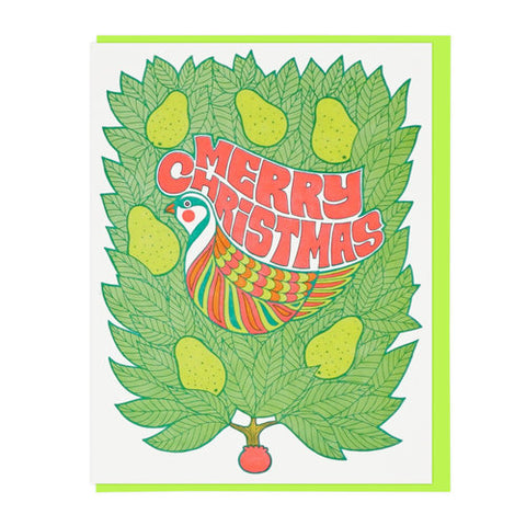 Merry Christmas Partridge In A Pear Tree Greeting Card