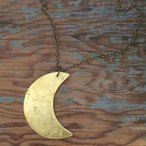 "Large Pendant Moon 24"" Necklace"