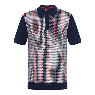 Picton Dogtooth Jacquard Knit Polo Navy