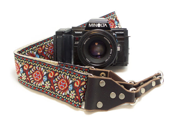 Hemp Camera Strap Red Peacock Feathers Woven Ribbon on Organic Hemp Webbing and Leather Ends