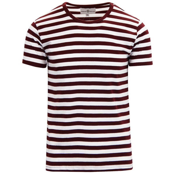 RetroRocket Stripe Tee in Zinfandel & White
