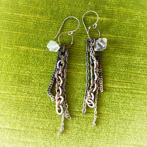 Sahlia Torched Silver and Quartz earrings