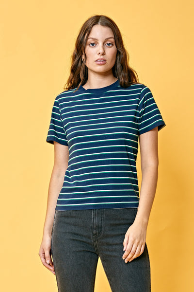 Saturday Stripe Tee Navy/Green