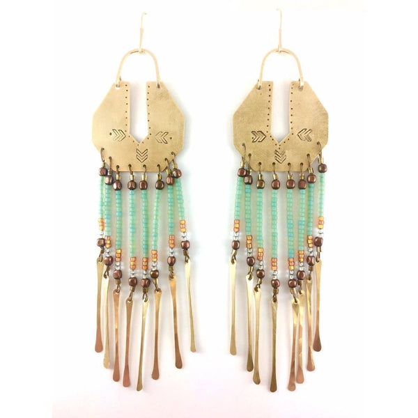 Serpentina Brass Fringe Earrings & Seafoam Beads