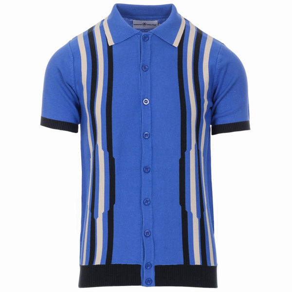 Shockwave Knitted Polo Cardigan Amparo Blue
