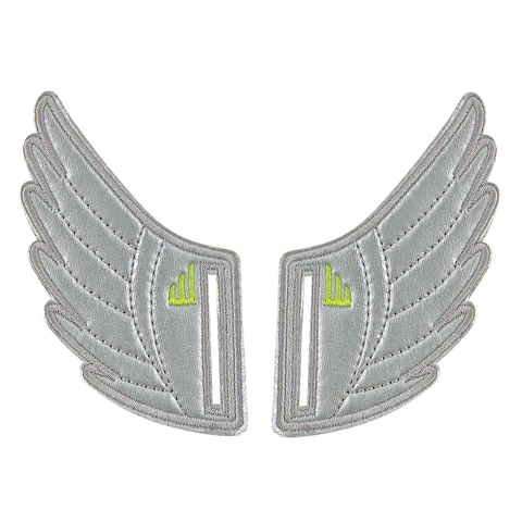 Shwings Silver Foil Wings for Velcro Shoes
