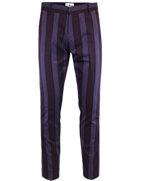 Speakeasy Regatta Stripe Slim Trousers Grape