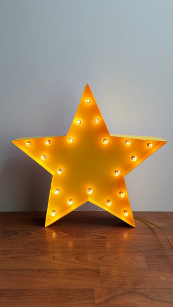 "Marquee 16"" Star Metal Sign Yellow"