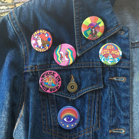 Star Girls Button Pin
