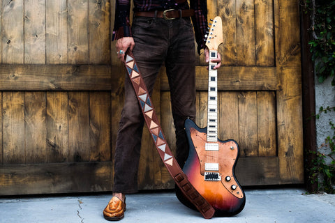 Tri Geo Guitar Strap Brown